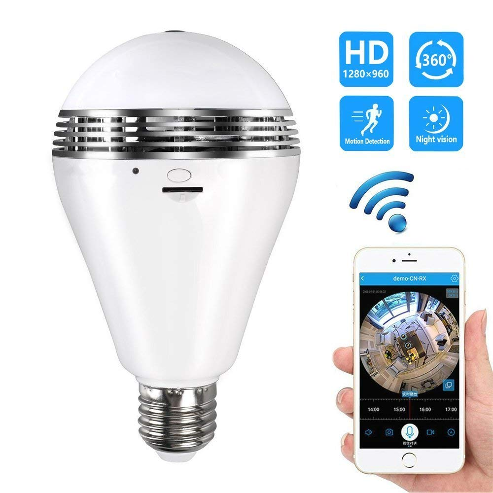 Mini Camcorders Camcorders Buy Cheap 360 Degree Fisheye Wifi Smart Bulb Lamp Ip Led Light 2mp Wireless Panoramic Camera Home Security Anti-burglar Support Tf Card