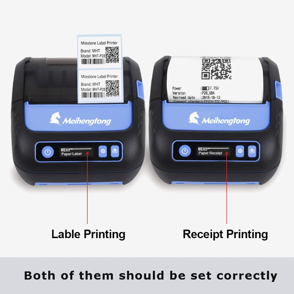 Thermal Printers, 80mm Bluetooth Printer Thermal Android iOS PC Label  Printer with Rechargeable Battery for Small Business,Supermarket, Retail  and