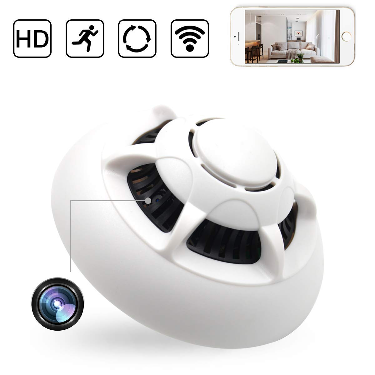 WiFi IP Smoke Detector Camera Monitor Motion Detection Nanny SpyCam DVR HD 1080P