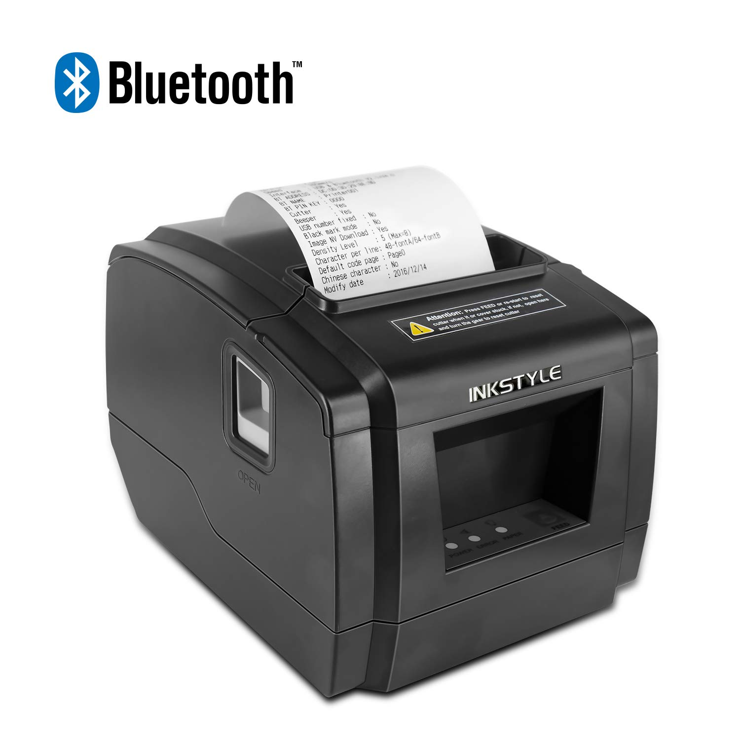 80MM Bluetooth Thermal Receipt Printer – Paper Width 3 1/8 (80mm)  –INKSTYLE Wireless POS Thermal Printer with Auto Cutter, High-Speed