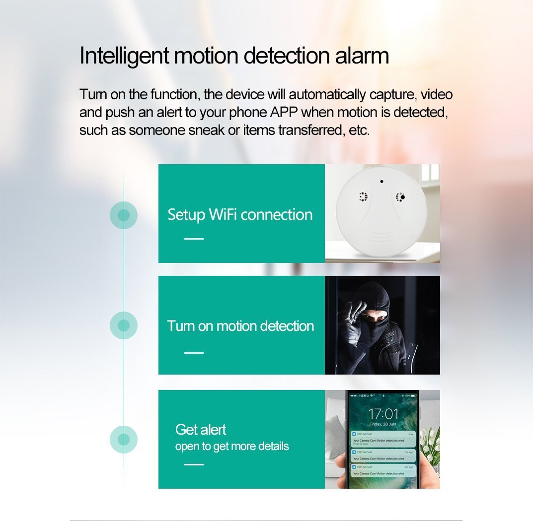 DVR Wi-Fi Smoke Detector Camera Motion Detection 1080P Wireless IP Indoor  Baby Pet Monitor Remote Free App View Nanny Cam Home Security Camera SD  Card