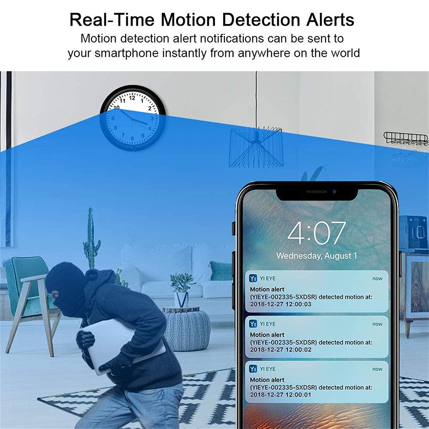 WiFi Spy Hidden Camera Wireless Wall Clock Camera with Adjustable Camera  Lens,Motion Detection,365 Days Standby Time, Indoor Nanny Security Camera,