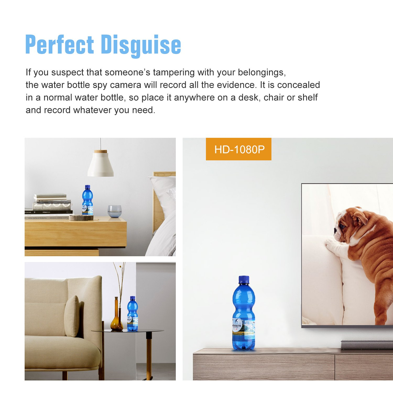 SANNCE Home IP Camera Bulit-in Water Bottle for Home Office Video Recording Drinking Water Bottle Motion-Activated Security Camera 180mins Recording 1080P Mini Spy Hidden Camera
