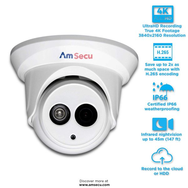UltraHD 4K (8MP) 2 8mm Turret PoE IP Security Camera, Day/Night, IR, H 265
