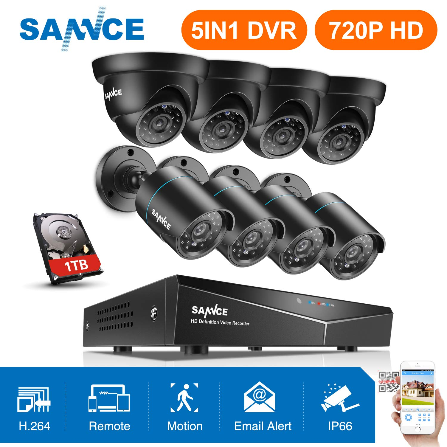 SANNCE 5in1 1080P HDMI 8CH //4CH DVR 720P Outdoor Security Camera System NO//1TB
