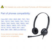 Cisco Phone Headset with Microphone Dual Ear Call Center Telephone Headset  with RJ9 Adaptor for Cisco 7841 7931G 7940 7941G 7942G 7945G 7960 7961