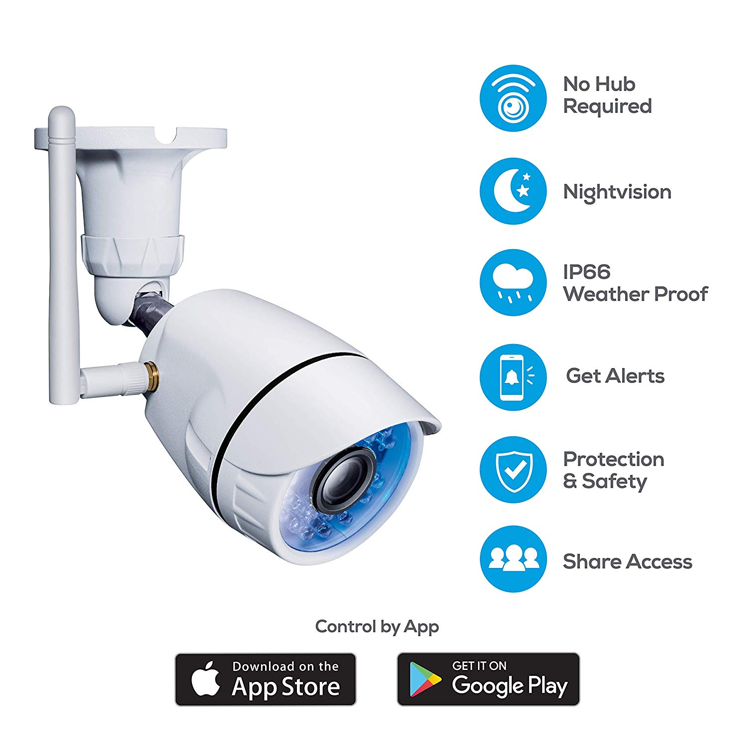 Geeni Hawk Outdoor Smart Wi-Fi Security Camera with Night Vision, Motion  Alerts and IP66 Weatherproof, White