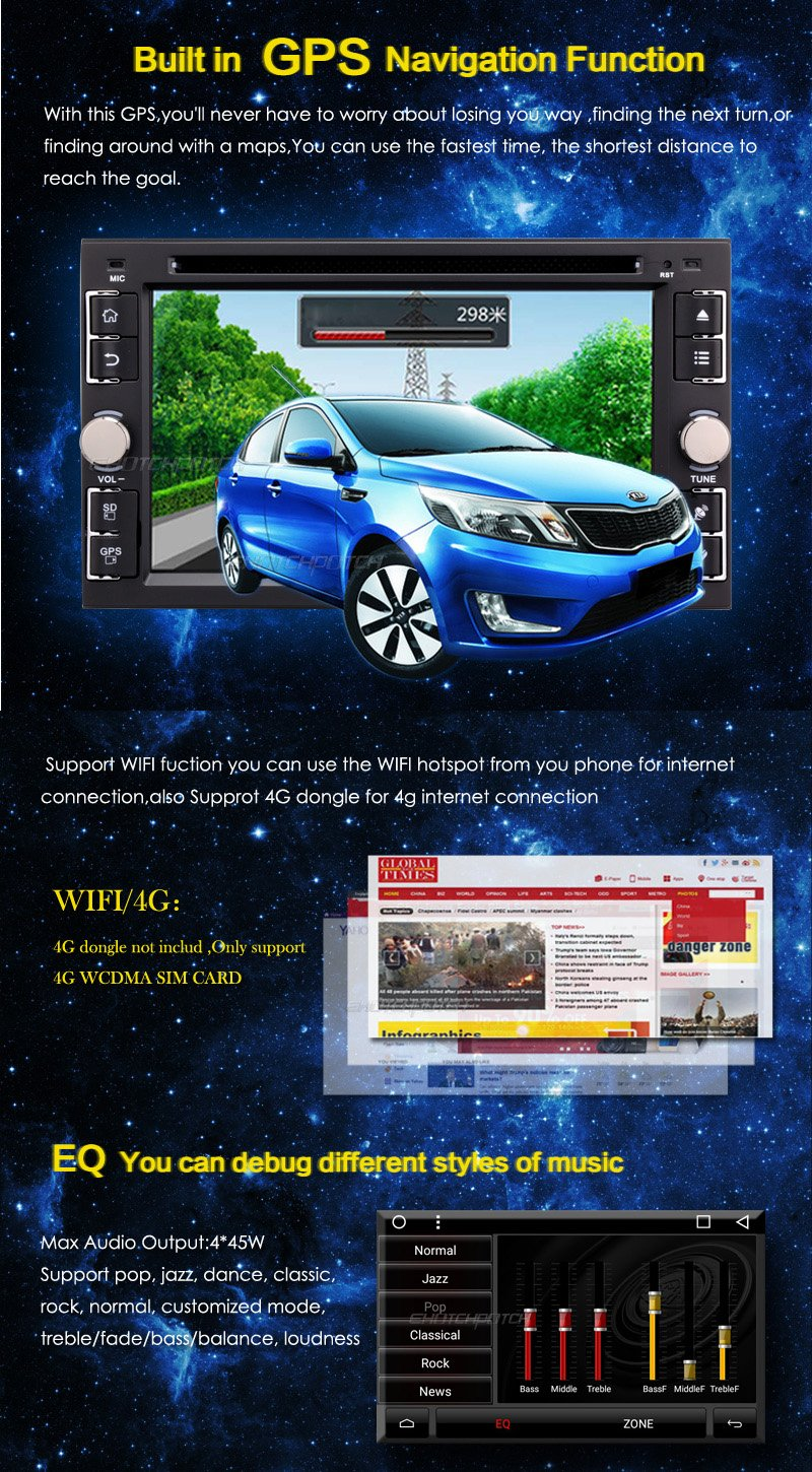 2 Double Din Universal in Dash DVD GPS Car Stereo – Ehotchpotch 6 2 Touch  Screen Android car Stereo Radio with Bluetooth WiFi Mirror Link SD USB