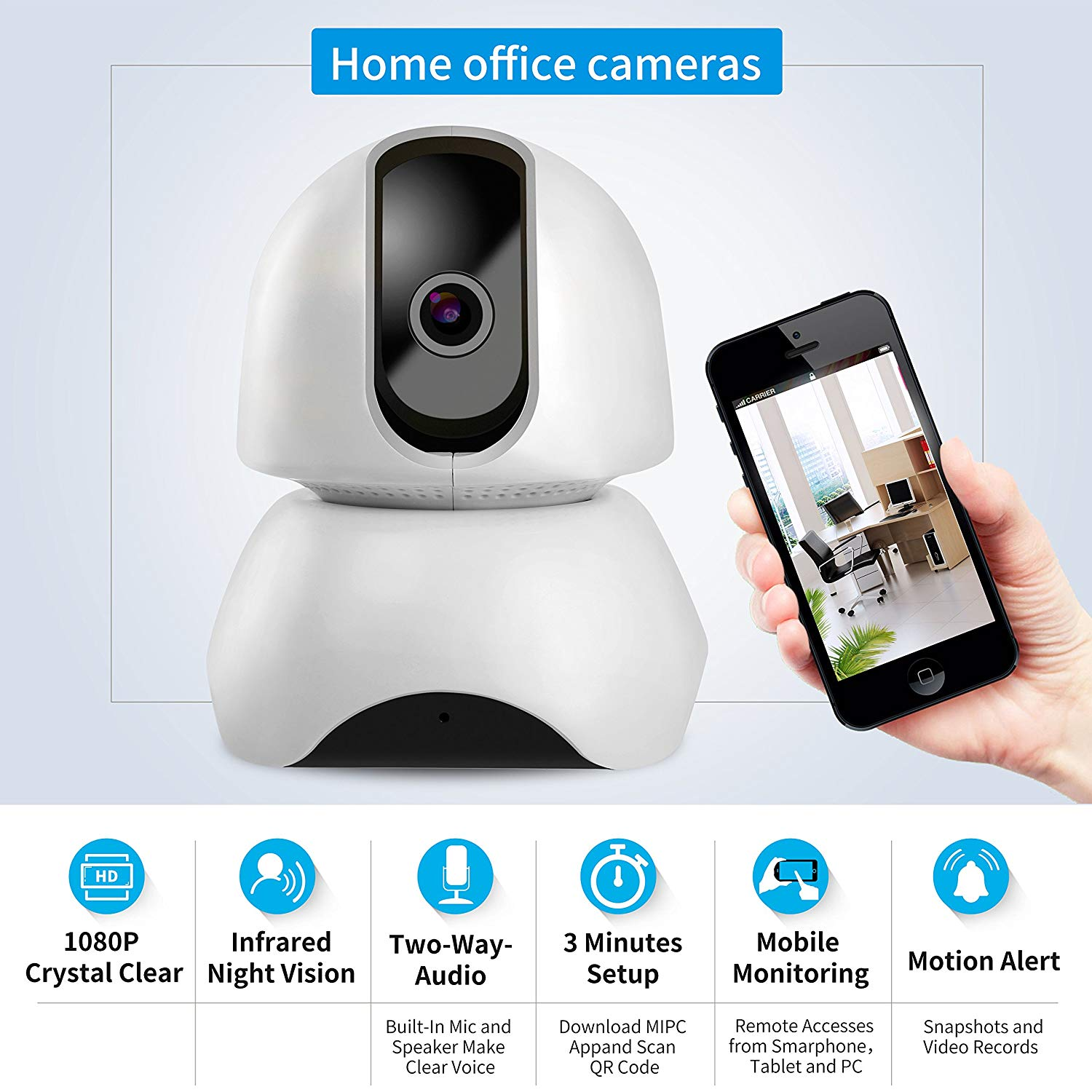 Wireless WiFi Cameras for Home Security 1080P hd with 2 Way Audio Monitor  Night Vision Pan and Tilt